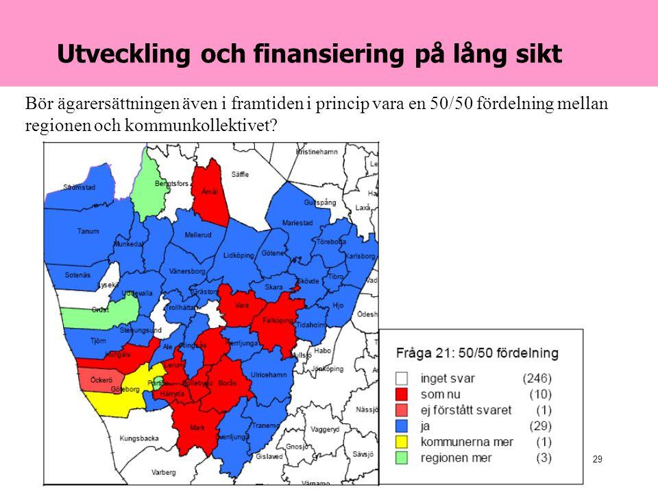 2007-04-24Danielson & Co29 Utveckling och finansiering på lång sikt Bör ägarersättningen även i framtiden i princip vara en 50/50 fördelning mellan regionen och kommunkollektivet
