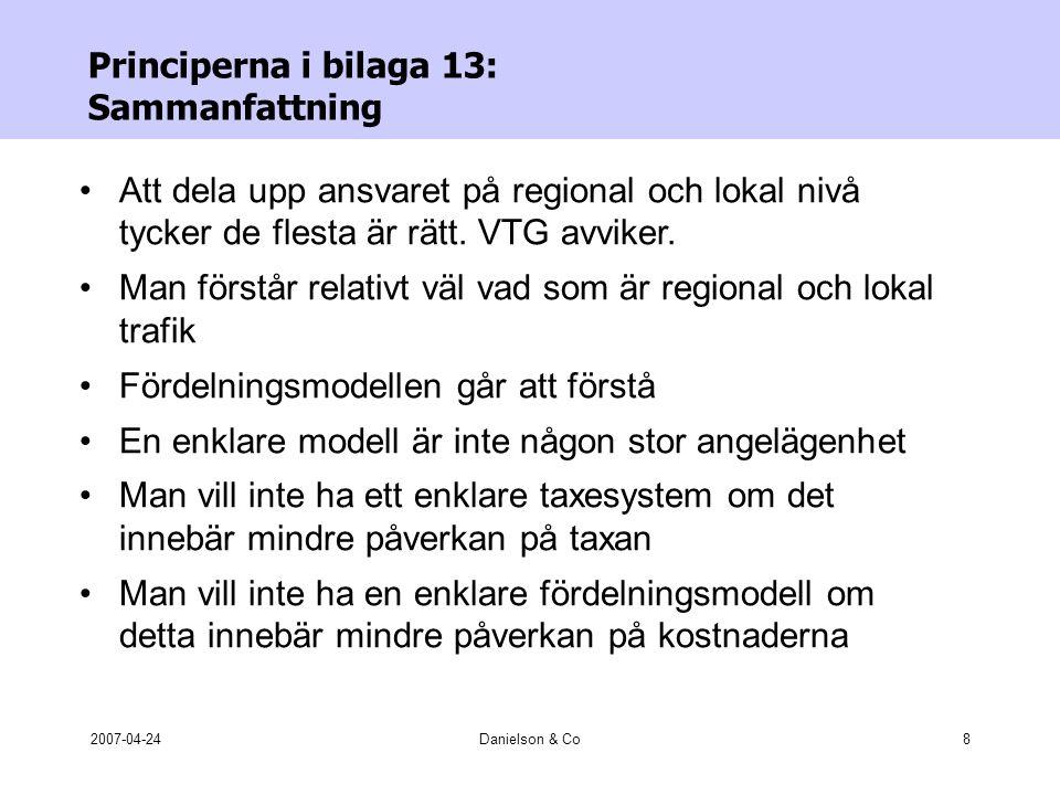 2007-04-24Danielson & Co8 Principerna i bilaga 13: Sammanfattning •Att dela upp ansvaret på regional och lokal nivå tycker de flesta är rätt.