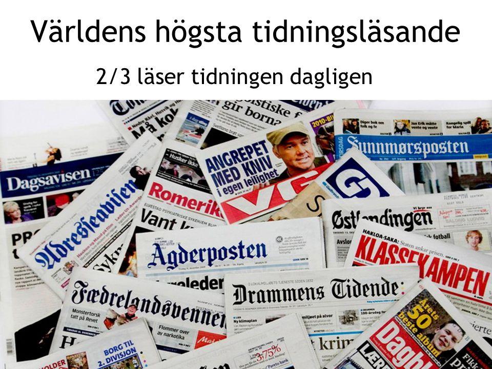 Sv Världens högsta tidningsläsande 2/3 läser tidningen dagligen
