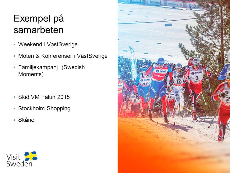 Sv Exempel på samarbeten •Weekend i VästSverige •Möten & Konferenser i VästSverige •Familjekampanj (Swedish Moments) •Skid VM Falun 2015 •Stockholm Shopping •Skåne