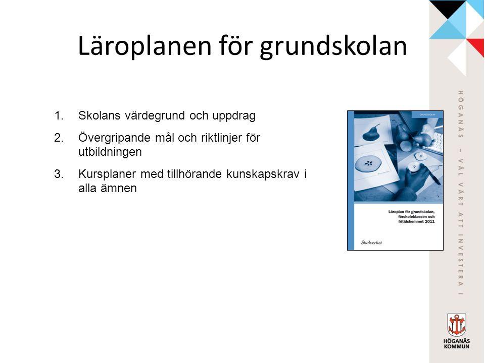 Läroplanen för grundskolan 1.Skolans värdegrund och uppdrag 2.Övergripande mål och riktlinjer för utbildningen 3.Kursplaner med tillhörande kunskapskr