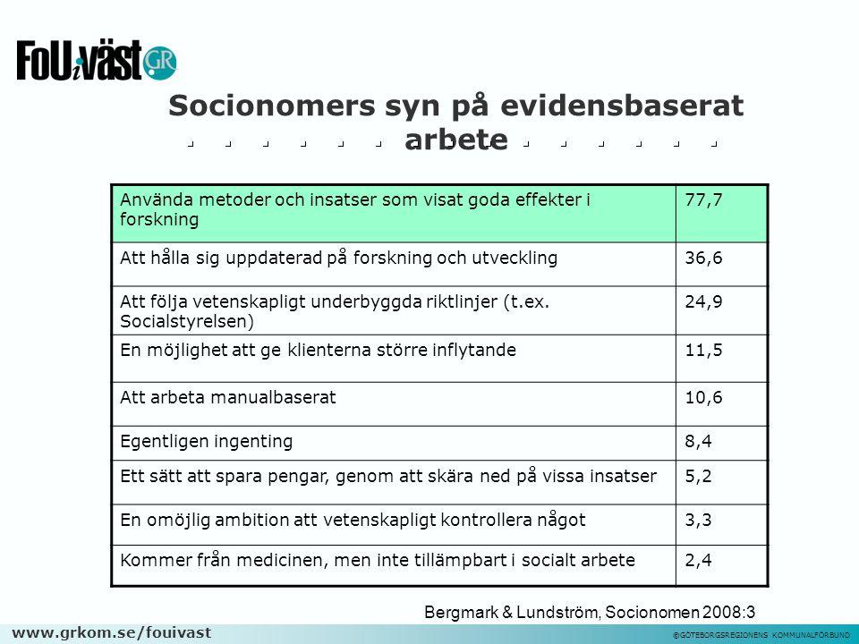 www.grkom.se/fouivast ©GÖTEBORGSREGIONENS KOMMUNALFÖRBUND Socionomers syn på evidensbaserat arbete Använda metoder och insatser som visat goda effekter i forskning 77,7 Att hålla sig uppdaterad på forskning och utveckling36,6 Att följa vetenskapligt underbyggda riktlinjer (t.ex.