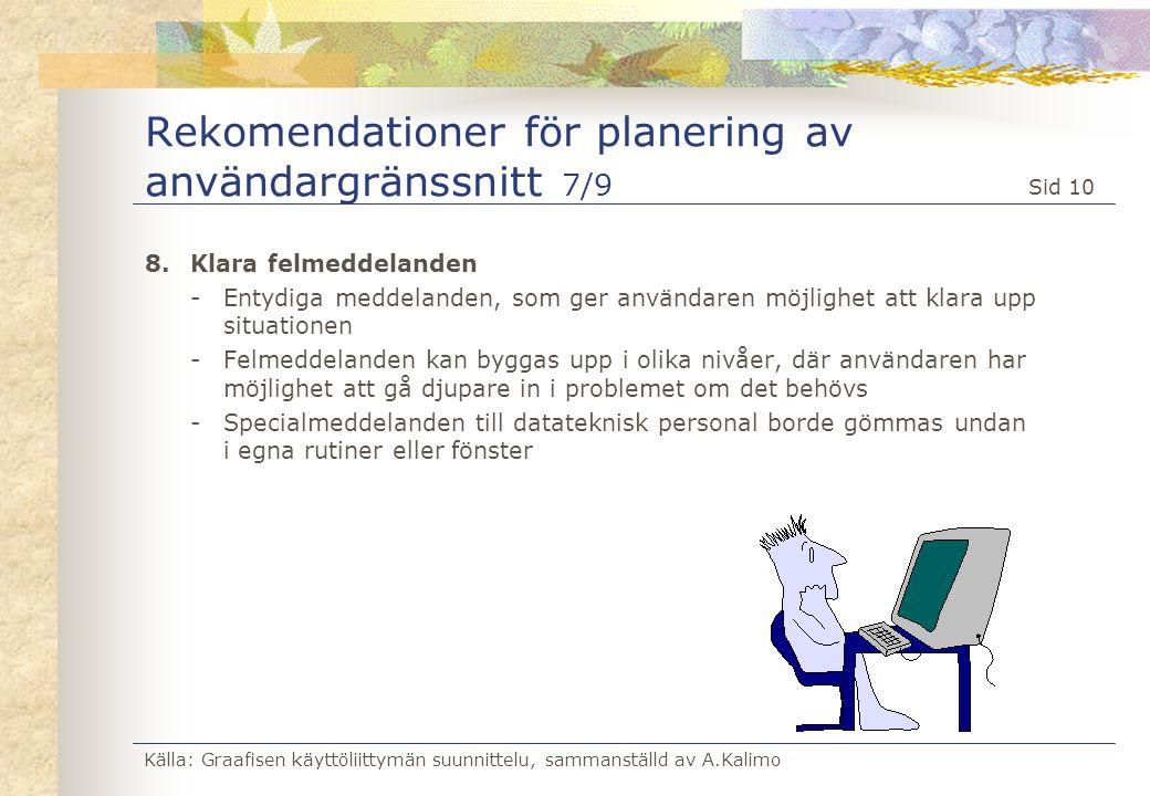 Källa: Graafisen käyttöliittymän suunnittelu, sammanställd av A.Kalimo Sid 10 Rekomendationer för planering av användargränssnitt 7/9 8.Klara felmedde