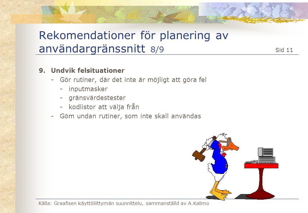 Källa: Graafisen käyttöliittymän suunnittelu, sammanställd av A.Kalimo Sid 11 Rekomendationer för planering av användargränssnitt 8/9 9.Undvik felsitu