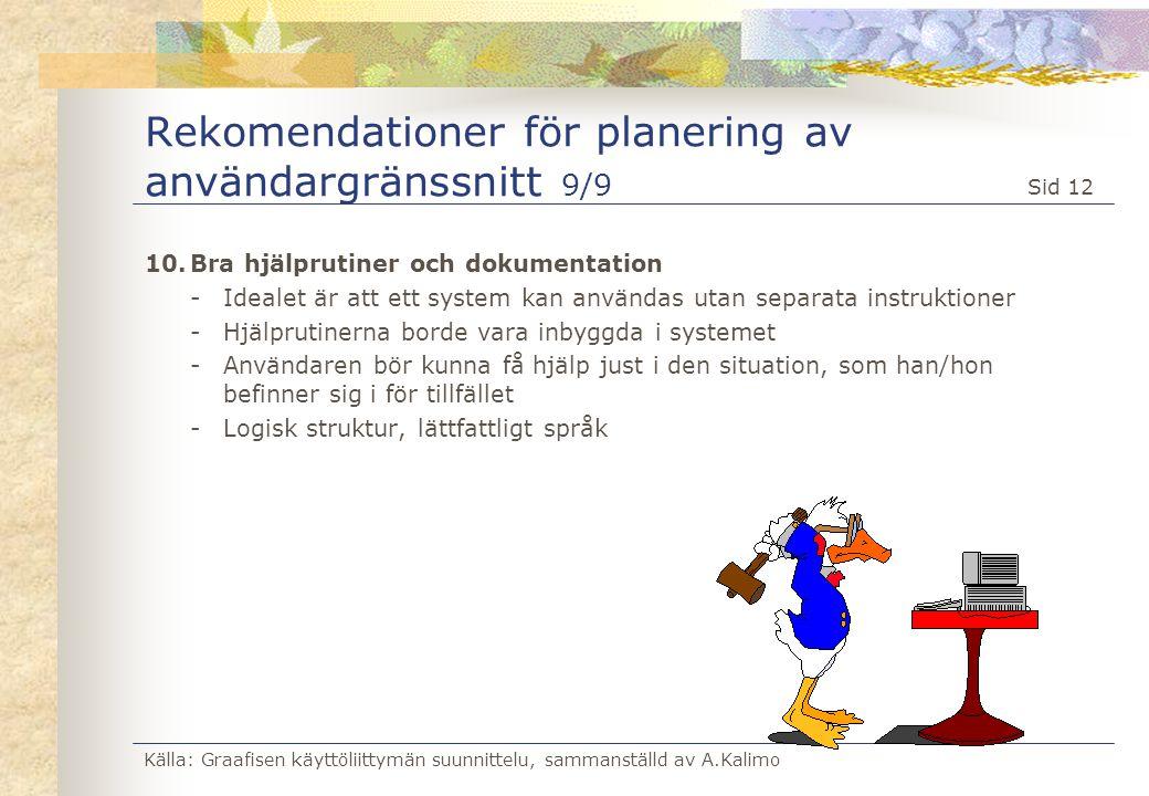 Källa: Graafisen käyttöliittymän suunnittelu, sammanställd av A.Kalimo Sid 12 Rekomendationer för planering av användargränssnitt 9/9 10.Bra hjälpruti