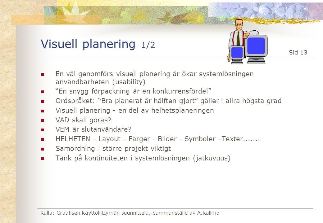 Källa: Graafisen käyttöliittymän suunnittelu, sammanställd av A.Kalimo Sid 13 Visuell planering 1/2  En väl genomförs visuell planering är ökar syste