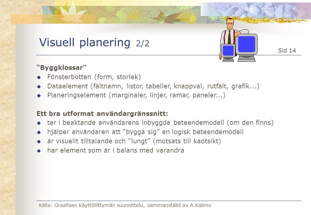 """Källa: Graafisen käyttöliittymän suunnittelu, sammanställd av A.Kalimo Sid 14 Visuell planering 2/2 """"Byggklossar"""" u Fönsterbotten (form, storlek) u Da"""