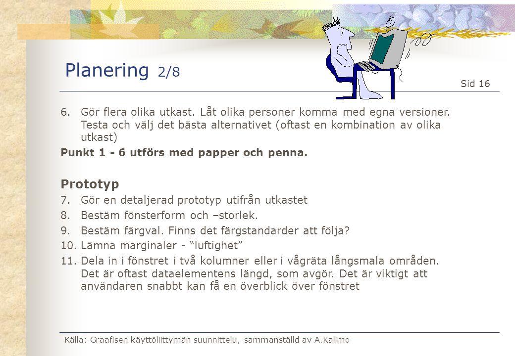 Källa: Graafisen käyttöliittymän suunnittelu, sammanställd av A.Kalimo Sid 16 Planering 2/8 6.Gör flera olika utkast. Låt olika personer komma med egn