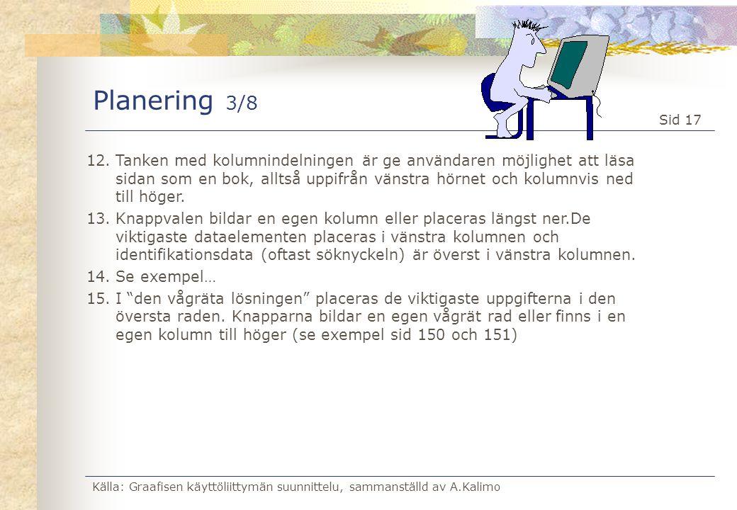 Källa: Graafisen käyttöliittymän suunnittelu, sammanställd av A.Kalimo Sid 17 Planering 3/8 12.Tanken med kolumnindelningen är ge användaren möjlighet