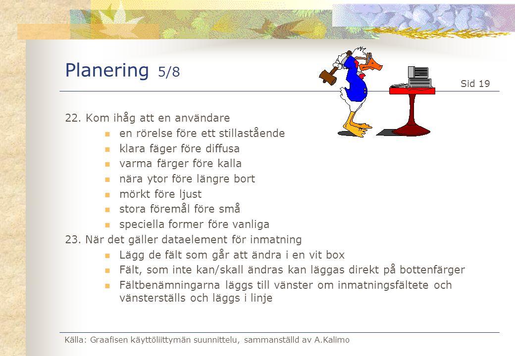Källa: Graafisen käyttöliittymän suunnittelu, sammanställd av A.Kalimo Sid 19 Planering 5/8 22. Kom ihåg att en användare  en rörelse före ett stilla