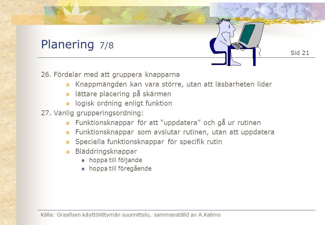 Källa: Graafisen käyttöliittymän suunnittelu, sammanställd av A.Kalimo Sid 21 Planering 7/8 26.Fördelar med att gruppera knapparna  Knappmängden kan