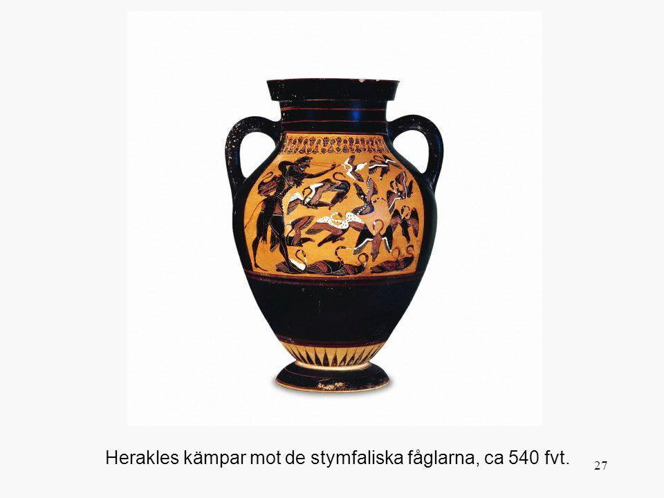 27 Herakles kämpar mot de stymfaliska fåglarna, ca 540 fvt.