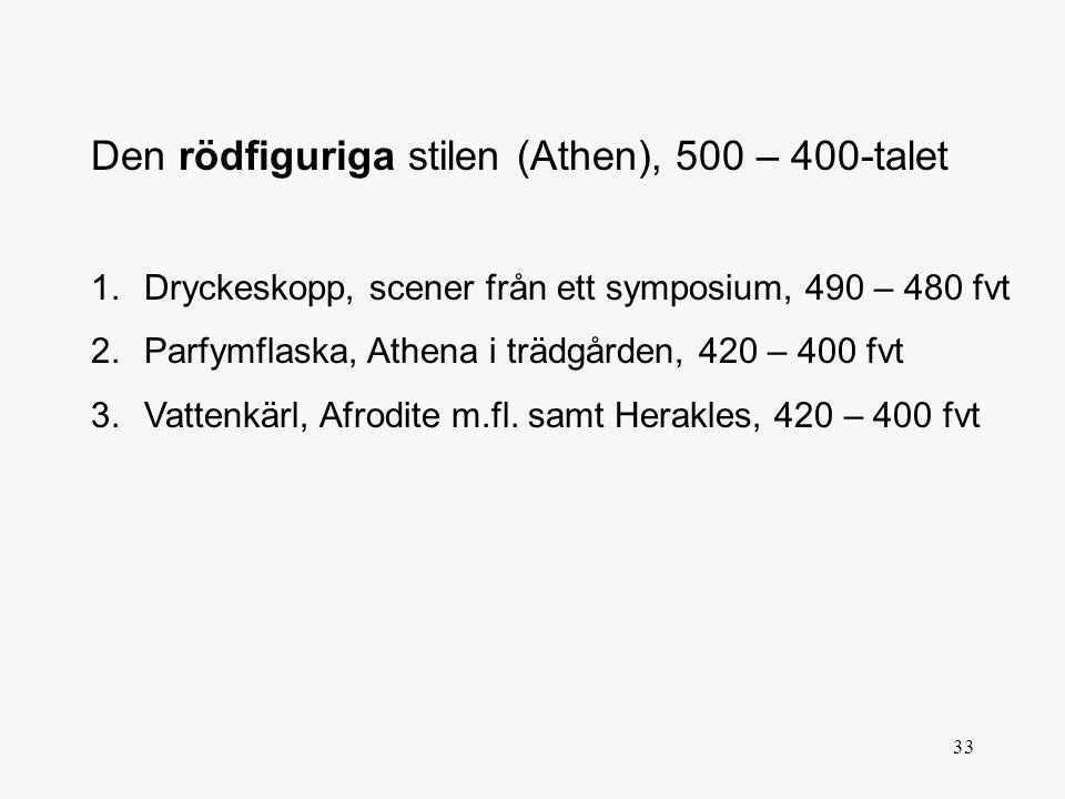 33 Den rödfiguriga stilen (Athen), 500 – 400-talet 1.Dryckeskopp, scener från ett symposium, 490 – 480 fvt 2.Parfymflaska, Athena i trädgården, 420 –