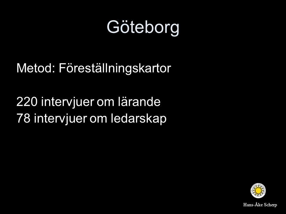 Göteborg Metod: Föreställningskartor 220 intervjuer om lärande 78 intervjuer om ledarskap Hans-Åke Scherp