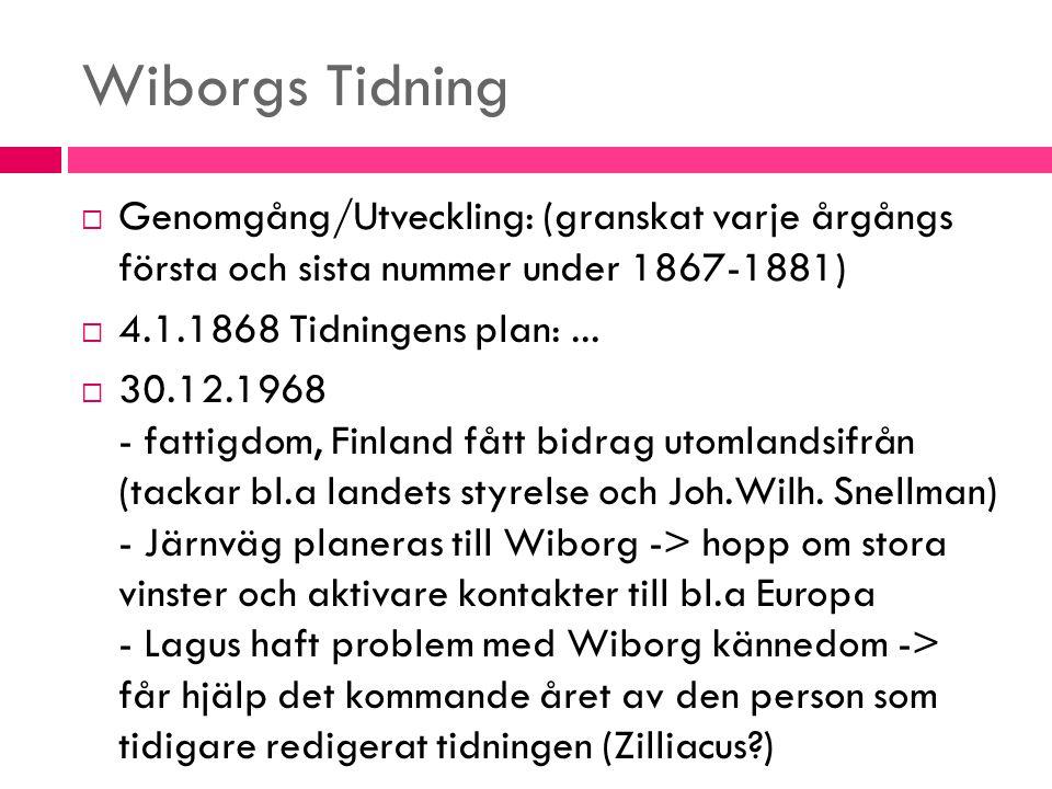 Wiborgs Tidning  Genomgång/Utveckling: (granskat varje årgångs första och sista nummer under 1867-1881)  4.1.1868 Tidningens plan:...  30.12.1968 -