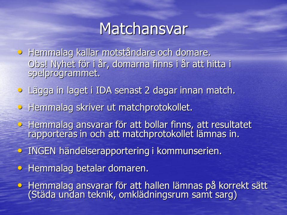 Matchansvar • Hemmalag kallar motståndare och domare.