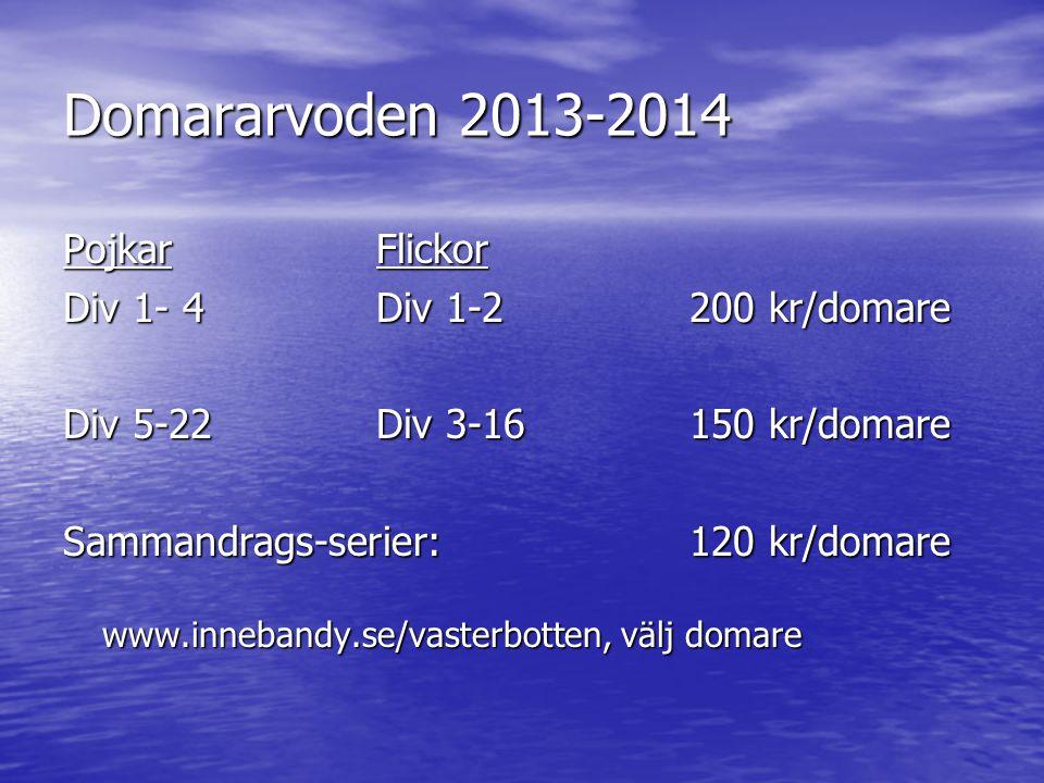 Domararvoden 2013-2014 PojkarFlickor Div 1- 4Div 1-2200 kr/domare Div 5-22Div 3-16150 kr/domare Sammandrags-serier: 120 kr/domare www.innebandy.se/vasterbotten, välj domare