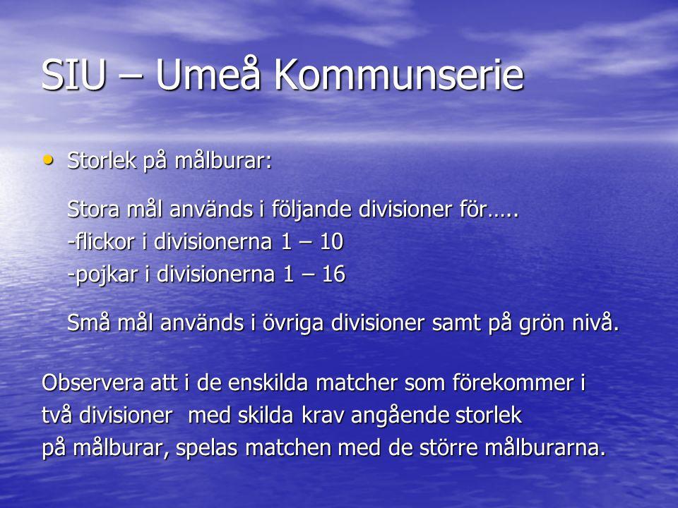 SIU – Umeå Kommunserie • Storlek på målburar: Stora mål används i följande divisioner för…..