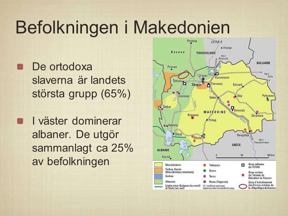 Befolkningen i Makedonien De ortodoxa slaverna är landets största grupp (65%) I väster dominerar albaner. De utgör sammanlagt ca 25% av befolkningen