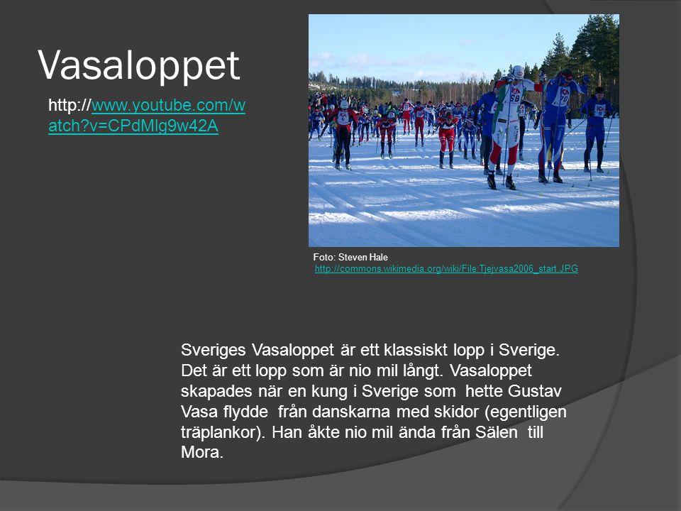 Vasaloppet Sveriges Vasaloppet är ett klassiskt lopp i Sverige. Det är ett lopp som är nio mil långt. Vasaloppet skapades när en kung i Sverige som he