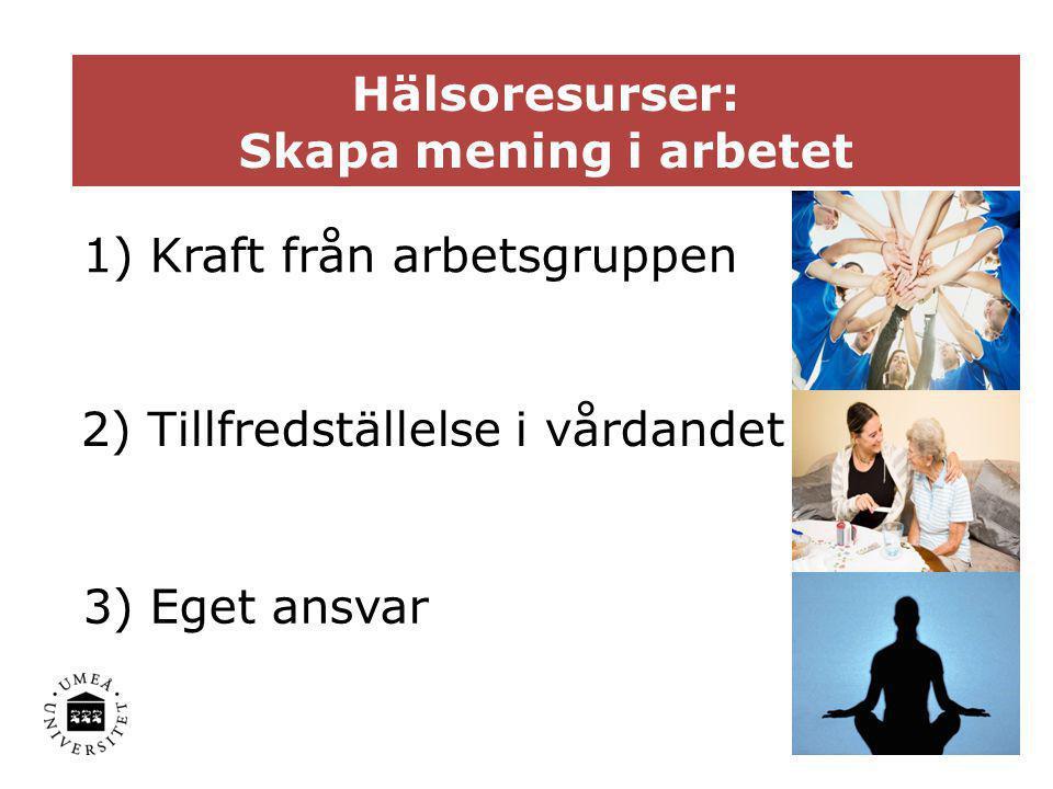 1 Hälsoresurser: Skapa mening i arbetet 1) Kraft från arbetsgruppen 2) Tillfredställelse i vårdandet 3) Eget ansvar