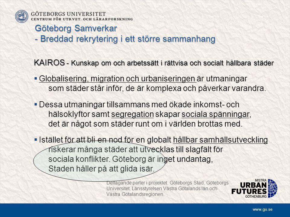 www.gu.se Göteborg Samverkar - Breddad rekrytering i ett större sammanhang KAIROS - Kunskap om och arbetssätt i rättvisa och socialt hållbara städer  Globalisering, migration och urbaniseringen är utmaningar som städer står inför, de är komplexa och påverkar varandra.