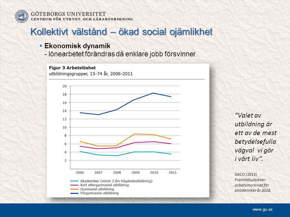 www.gu.se Kollektivt välstånd – ökad social ojämlikhet  Ekonomisk dynamik - lönearbetet förändras då enklare jobb försvinner Valet av utbildning är ett av de mest betydelsefulla vägval vi gör i vårt liv .
