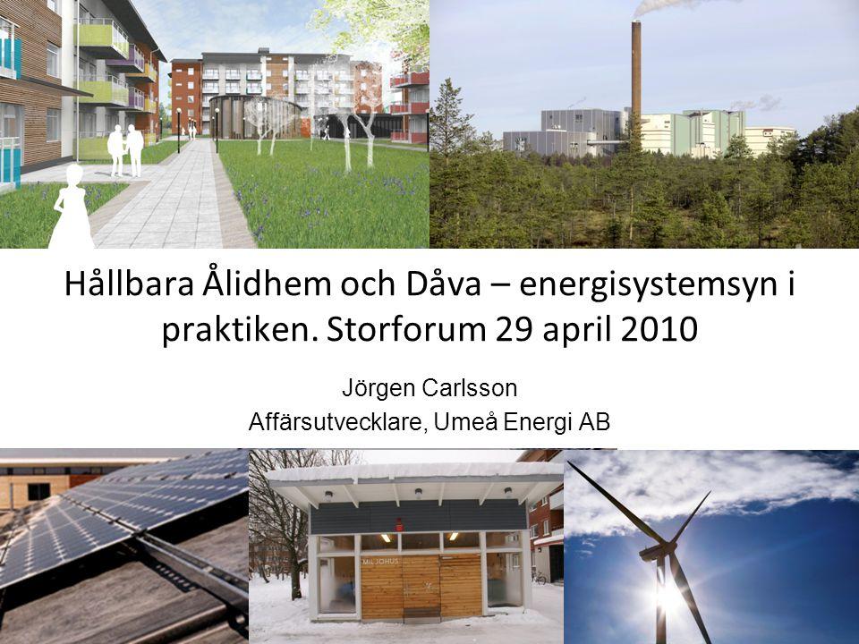 Hållbara Ålidhem och Dåva – energisystemsyn i praktiken. Storforum 29 april 2010 Jörgen Carlsson Affärsutvecklare, Umeå Energi AB