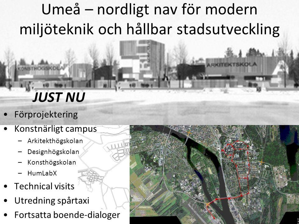 Umeå – nordligt nav för modern miljöteknik och hållbar stadsutveckling JUST NU •Förprojektering •Konstnärligt campus –Arkitekthögskolan –Designhögskol