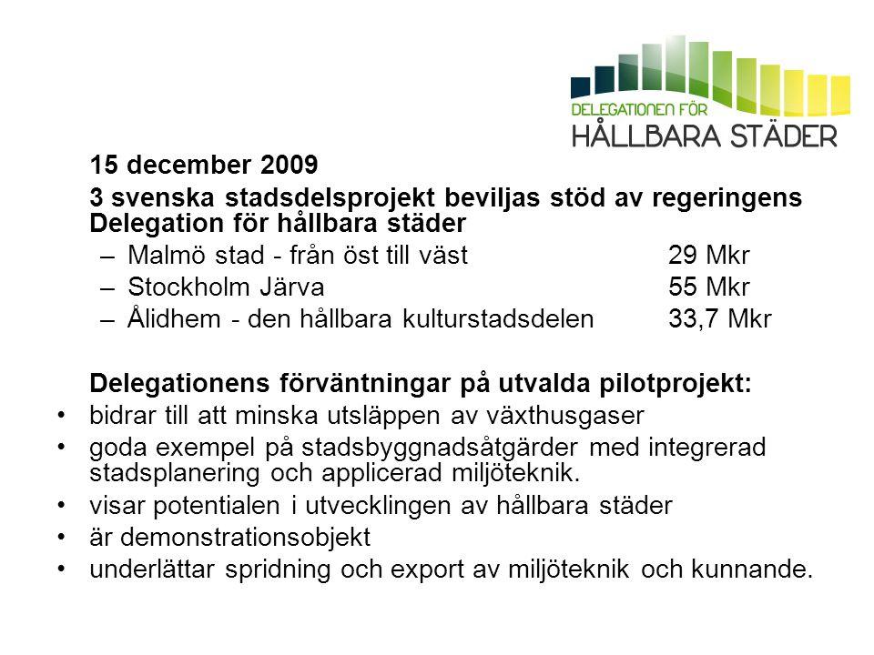 15 december 2009 3 svenska stadsdelsprojekt beviljas stöd av regeringens Delegation för hållbara städer –Malmö stad - från öst till väst 29 Mkr –Stock