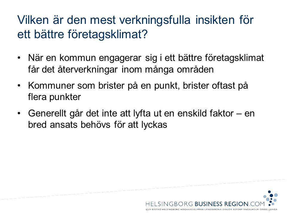 Vilken är den mest verkningsfulla insikten för ett bättre företagsklimat? •När en kommun engagerar sig i ett bättre företagsklimat får det återverknin