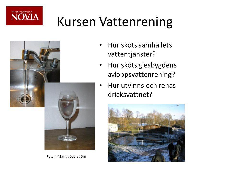 Kursen Vattenrening • Hur sköts samhällets vattentjänster.