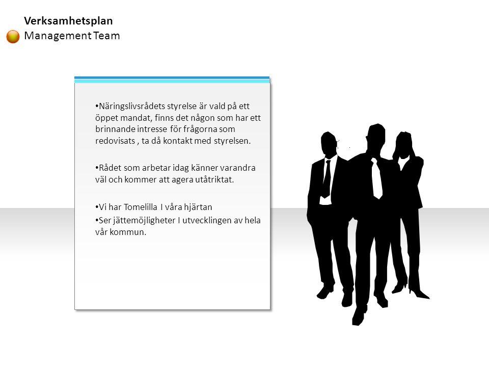 Verksamhetsplan Management Team • Näringslivsrådets styrelse är vald på ett öppet mandat, finns det någon som har ett brinnande intresse för frågorna som redovisats, ta då kontakt med styrelsen.