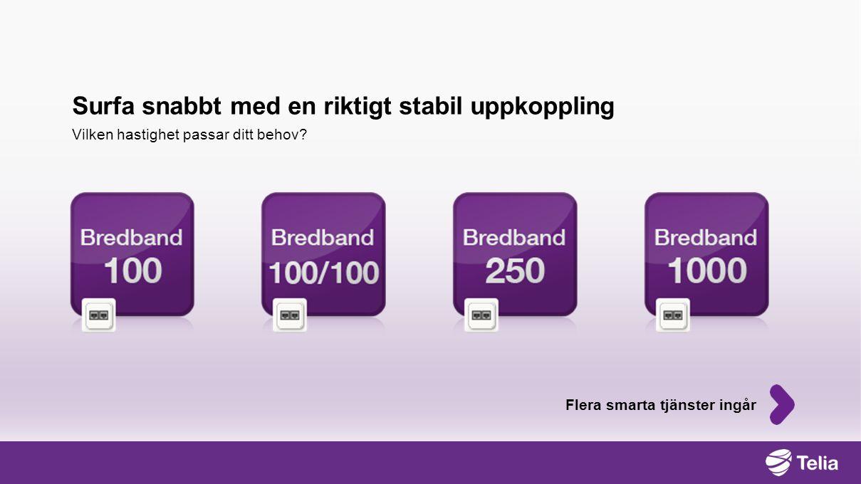 Telia Säker surf Telia Säker lagring E-post och webbmail Brandvägg och antivirus När du har bredband hos Telia ingår: