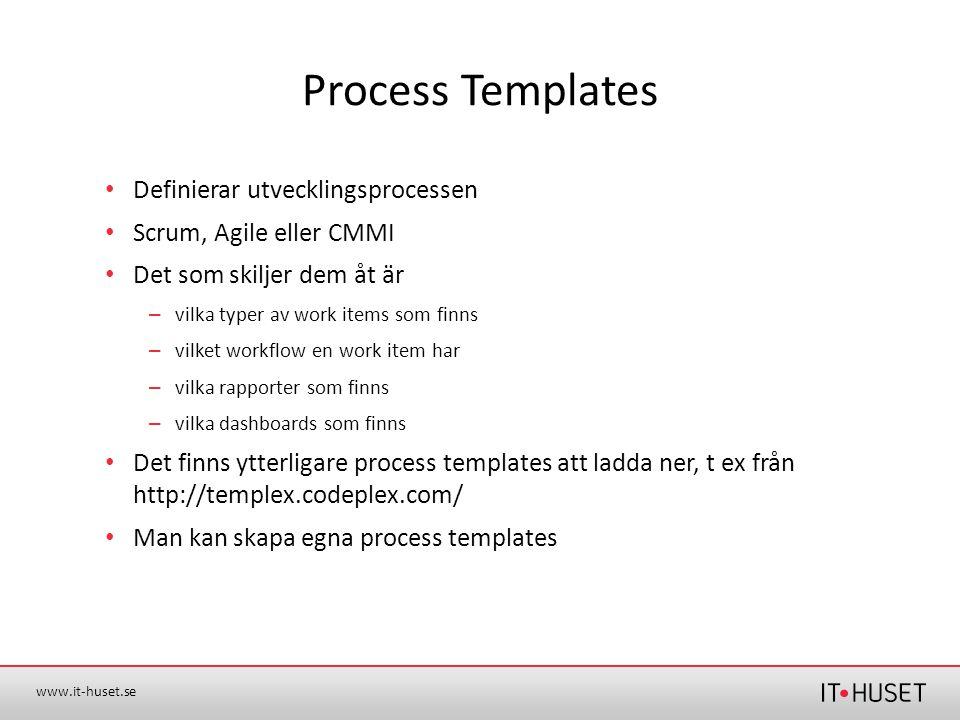 www.it-huset.se Process Templates •Definierar utvecklingsprocessen •Scrum, Agile eller CMMI •Det som skiljer dem åt är – vilka typer av work items som