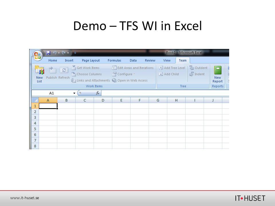 www.it-huset.se Demo – TFS WI in Excel