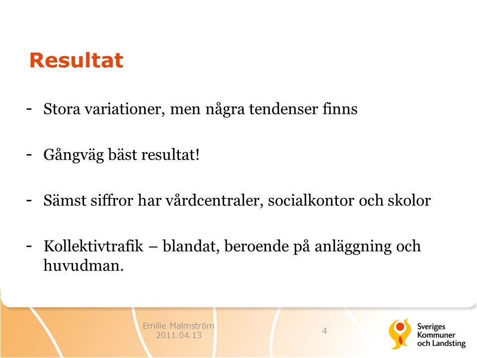 Emilie Malmström 2011.04.13 Resultat - Stora variationer, men några tendenser finns - Gångväg bäst resultat.