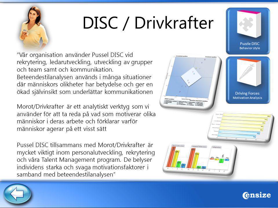"""DISC / Drivkrafter """"Vår organisation använder Pussel DISC vid rekrytering, ledarutveckling, utveckling av grupper och team samt och kommunikation. Bet"""