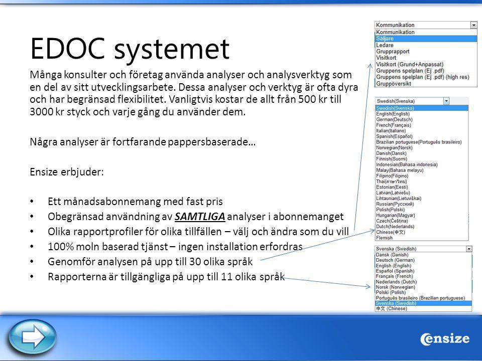 EDOC systemet Många konsulter och företag använda analyser och analysverktyg som en del av sitt utvecklingsarbete. Dessa analyser och verktyg är ofta
