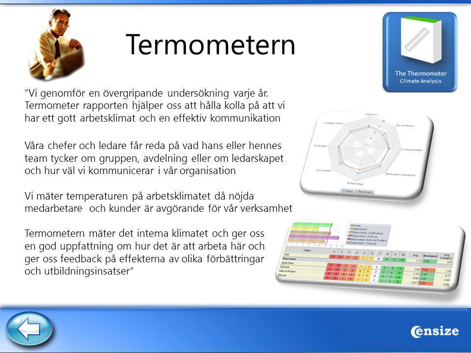 """Termometern """"Vi genomför en övergripande undersökning varje år. Termometer rapporten hjälper oss att hålla kolla på att vi har ett gott arbetsklimat o"""