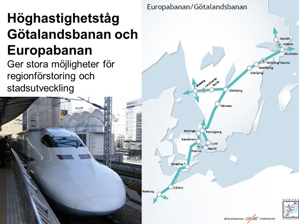 Höghastighetståg Götalandsbanan och Europabanan Ger stora möjligheter för regionförstoring och stadsutveckling