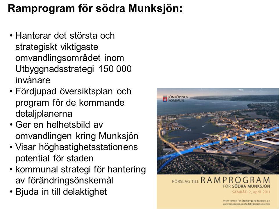 •Hanterar det största och strategiskt viktigaste omvandlingsområdet inom Utbyggnadsstrategi 150 000 invånare •Fördjupad översiktsplan och program för