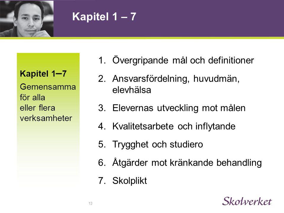 13 Kapitel 1 – 7 Gemensamma för alla eller flera verksamheter 1.Övergripande mål och definitioner 2.Ansvarsfördelning, huvudmän, elevhälsa 3.Elevernas utveckling mot målen 4.Kvalitetsarbete och inflytande 5.Trygghet och studiero 6.Åtgärder mot kränkande behandling 7.Skolplikt Kapitel 1 – 7