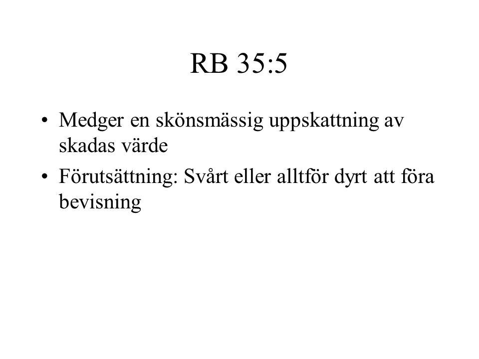 RB 35:5 •Medger en skönsmässig uppskattning av skadas värde •Förutsättning: Svårt eller alltför dyrt att föra bevisning