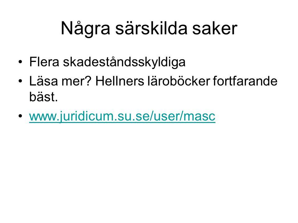 Några särskilda saker •Flera skadeståndsskyldiga •Läsa mer? Hellners läroböcker fortfarande bäst. •www.juridicum.su.se/user/mascwww.juridicum.su.se/us