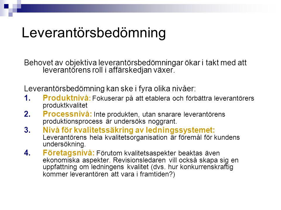 Leverantörsbedömning Behovet av objektiva leverantörsbedömningar ökar i takt med att leverantörens roll i affärskedjan växer. Leverantörsbedömning kan