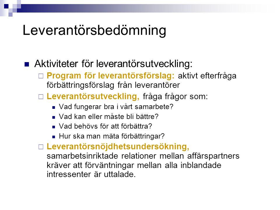 Leverantörsbedömning  Aktiviteter för leverantörsutveckling:  Program för leverantörsförslag: aktivt efterfråga förbättringsförslag från leverantöre