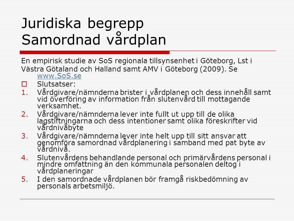 Juridiska begrepp Samordnad vårdplan En empirisk studie av SoS regionala tillsynsenhet i Göteborg, Lst i Västra Götaland och Halland samt AMV i Götebo