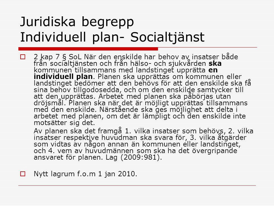 Juridiska begrepp Individuell plan- Socialtjänst  2 kap 7 § SoL När den enskilde har behov av insatser både från socialtjänsten och från hälso- och s