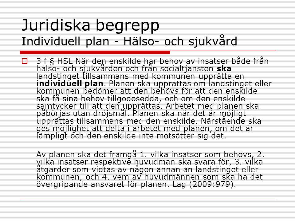 Juridiska begrepp Individuell plan - Hälso- och sjukvård  3 f § HSL När den enskilde har behov av insatser både från hälso- och sjukvården och från s